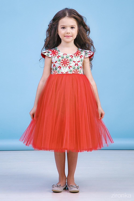Платье красное для девочки 38-8031-3