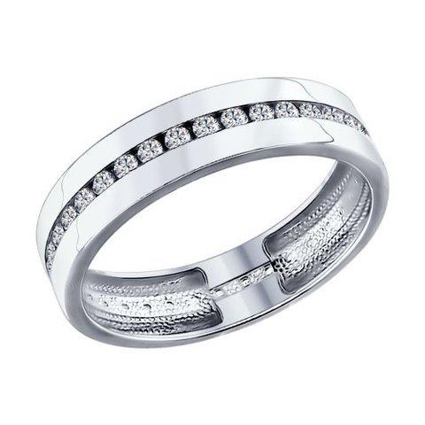 94110026 - Обручальное кольцо из серебра с фианитами