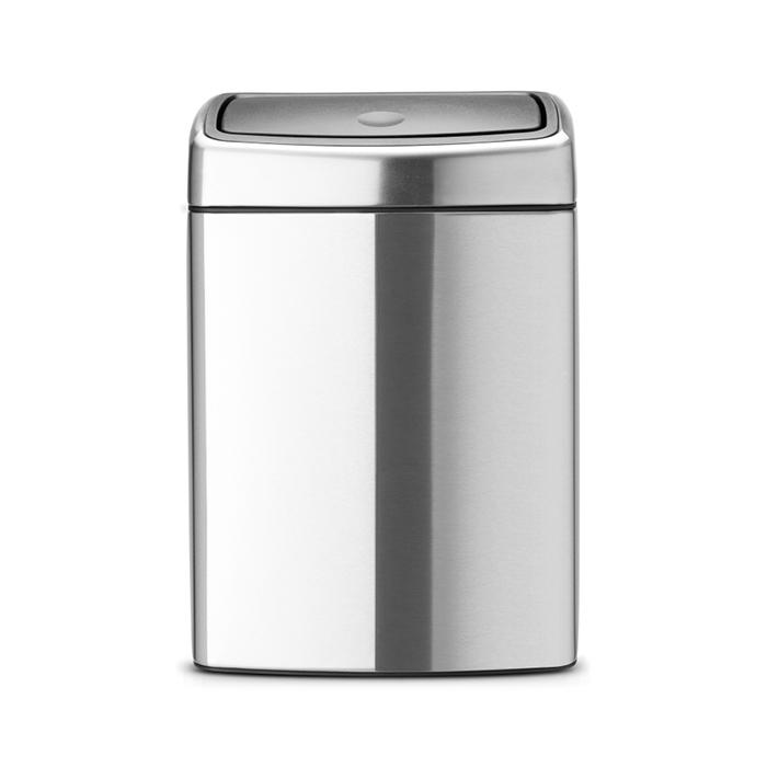 Мусорный бак Brabantia Touch Bin прямоугольный (10л), Стальной матовый (FPP), арт. 477225 - фото 1