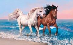 Алмазная Мозаика + Багет 40x50 Две лошади на берегу моря