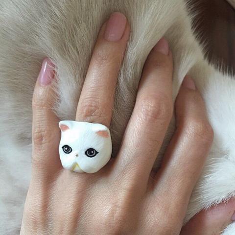 Кольцо Персидская кошка (белая)