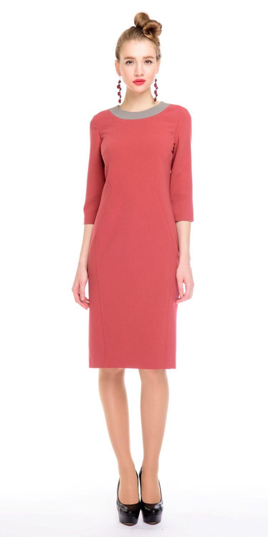 Платье З129-536 - Элегантное платье приталенного силуэта. Втачной рукав 3/4 и контрастная окантовка горловины. Вертикальные отстрочки по всей длине, визуально стройнят фигуру. Плотная, пластичная ткань отлично садится на фигуру. В этом платье вы будете неотразимы как в офисе или на деловой встрече, так и на вечернем мероприятии.