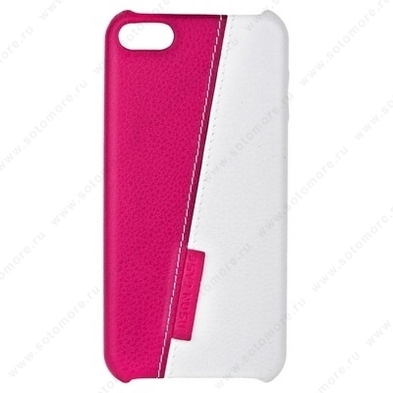 Накладка Jisoncase для iPod touch 5 двухцветная белая/розовая JS-TH5-01H