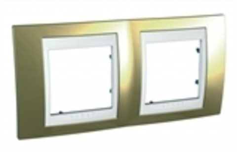 Рамка на 2 поста. Цвет Золото/Белый. Schneider electric Unica Хамелеон. MGU66.004.804