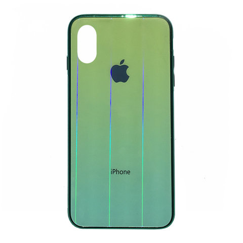 Чехол iPhone X/XS Glass Shine Case Logo /green/