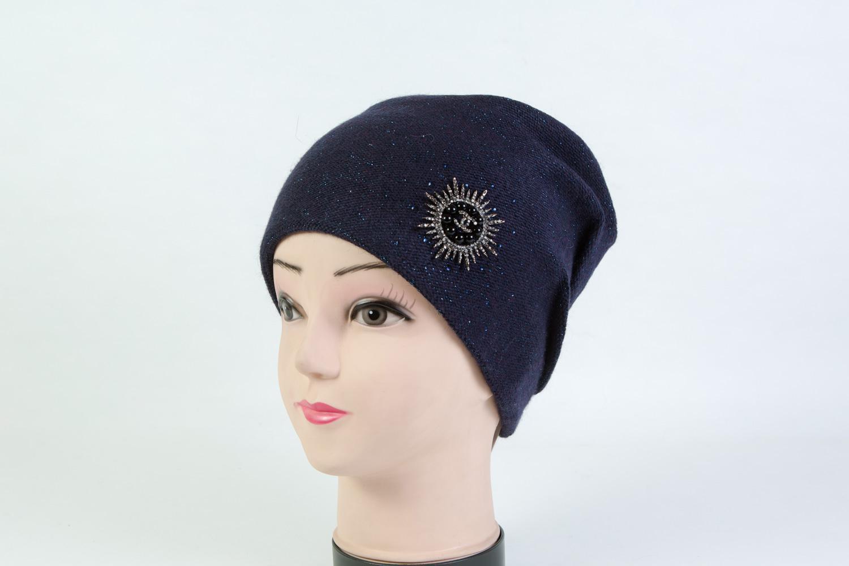 Женская шапка тёмно-синяя SH 7G-90002 blue