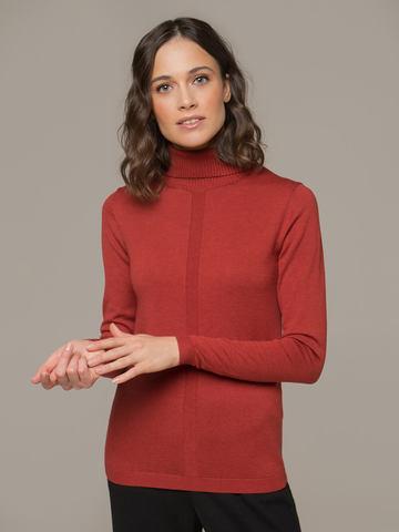 Женский джемпер оранжевого цвета из шерсти и шелка - фото 2