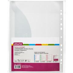 Файл-вкладыш (папка-конверт) Attache А4+ 150 мкм прозрачный гладкий 10 штук в упаковке