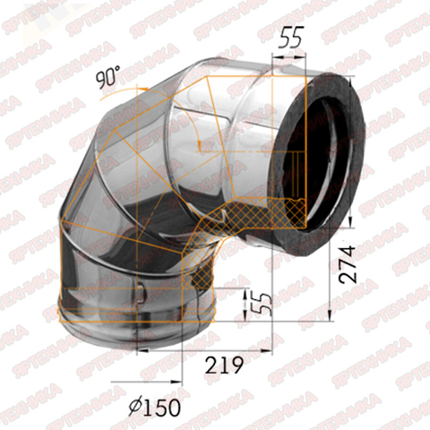 Отвод-сэндвич 90° d150х210мм (439/0,8мм+нерж) Ferrum