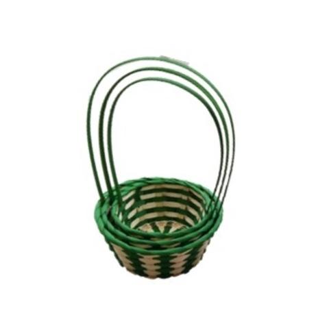 Набор корзин плетеных 3шт., (бамбук), D23x11xH37см, натуральный/зеленый