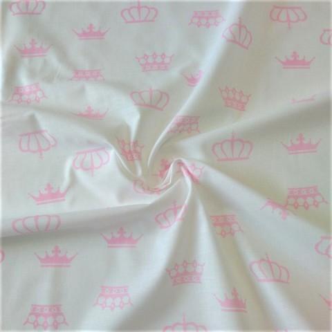 Ткань хлопковая розовые короны на белом