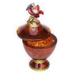 Шкатулка из янтаря Колибри (высокая)