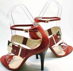 Красивые босоножки на высоком каблуке Via Uno1103-6605 Red.
