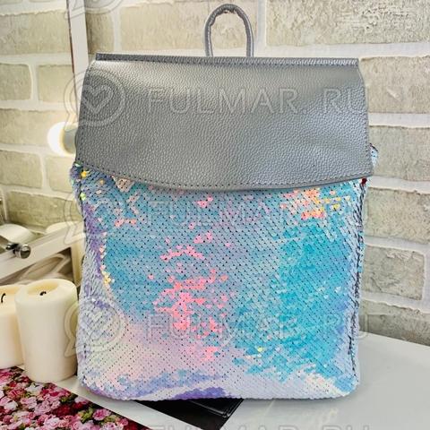 Рюкзак школьный с пайетками меняющий цвет Перламутровый Хамелеон-Серебристый А4