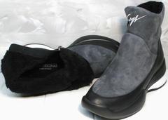 Зимние сникерсы женские Jina 7195 Leather Black-Gray