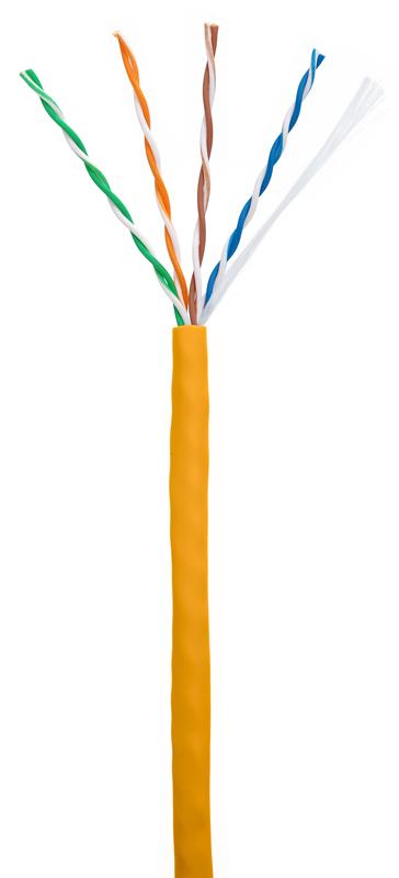 Кабель NETLAN U/UTP 4 пары, Кат 5e (Класс D), 100МГц, одножильный, BC (чистая медь), внутренний, LSZH нг(B)-HF, оранжевый, 305м, купить оптом по низкой цене