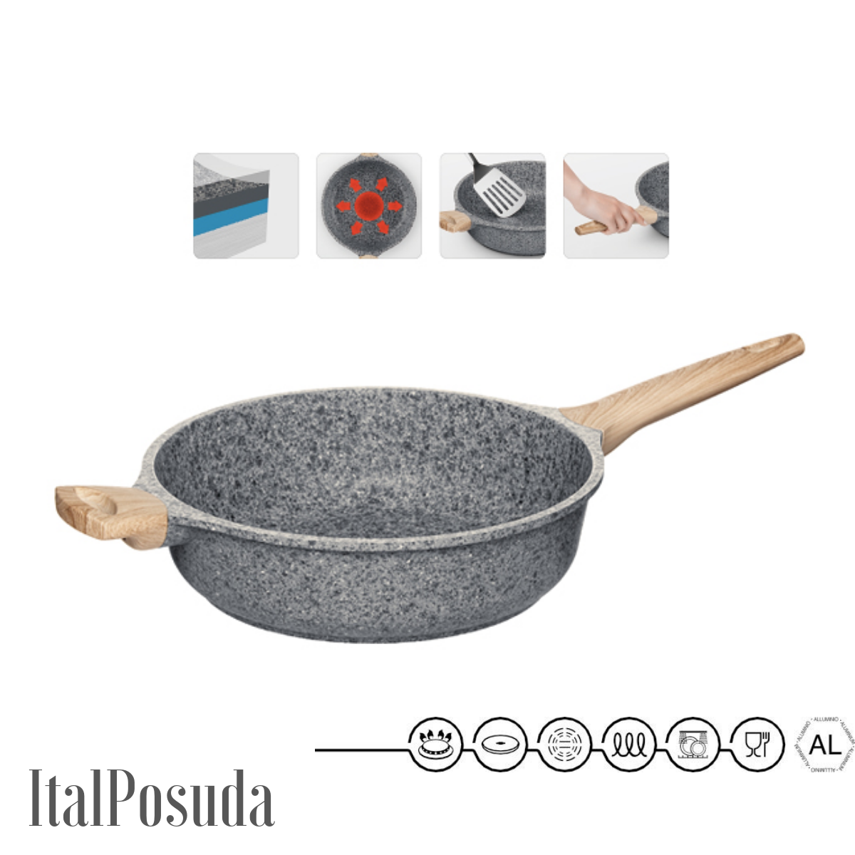 Глубокая сковорода NADOBA MINERALICA индукционная , 28 см