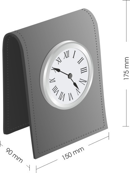 Схема с размерами часов настольных Classic D103 для набора на стол руководителя.