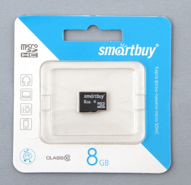 Карта памяти MICRO SD 8Gb Smart Buy Class 10 без адаптера SD