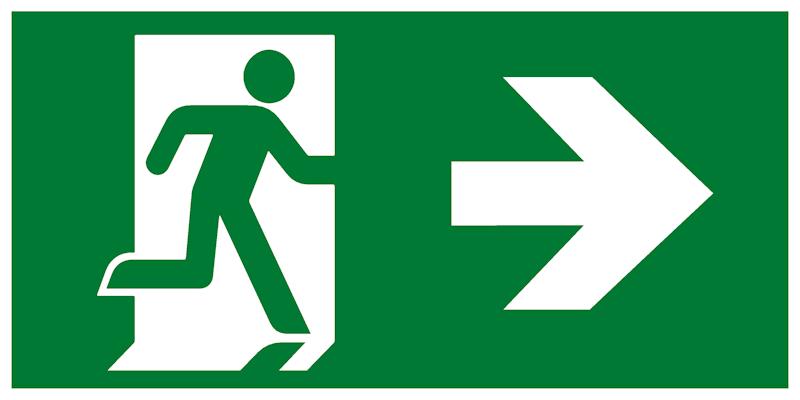 Современный комбинированный эвакуационный знак Е35 – Направление к эвакуационному выходу направо