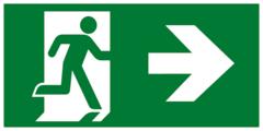 Е35 Направление к эвакуационному выходу направо - современный эвакуационный знак