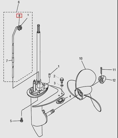 Демпфер трубки водяной для лодочного мотора T9.8 Sea-PRO (14-8)