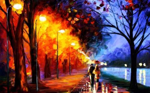 Алмазная Мозаика 50x65 Осенняя прогулка под зонтом