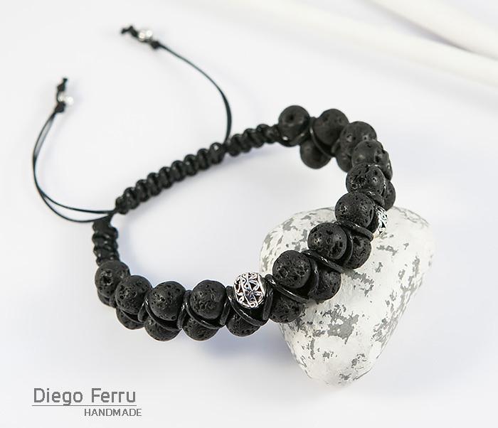 BS644-2 Мужской браслет из вулканической лавы, ручная работа, «Diego Ferru»