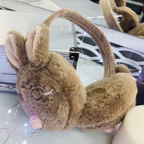 Ободок на уши складной Плюшевый Спящий Зайка (цвет: Кофейный)