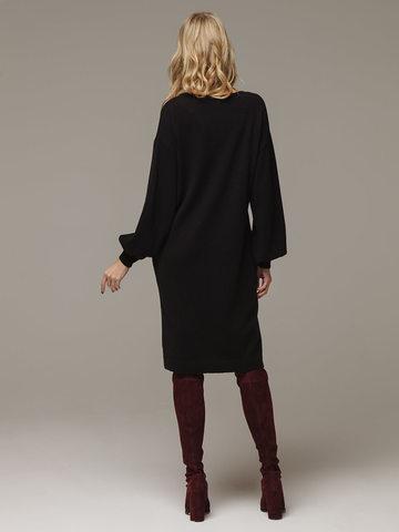 Женское черное платье с V-образным вырезом и объемными рукавами из 100% кашемира - фото 3