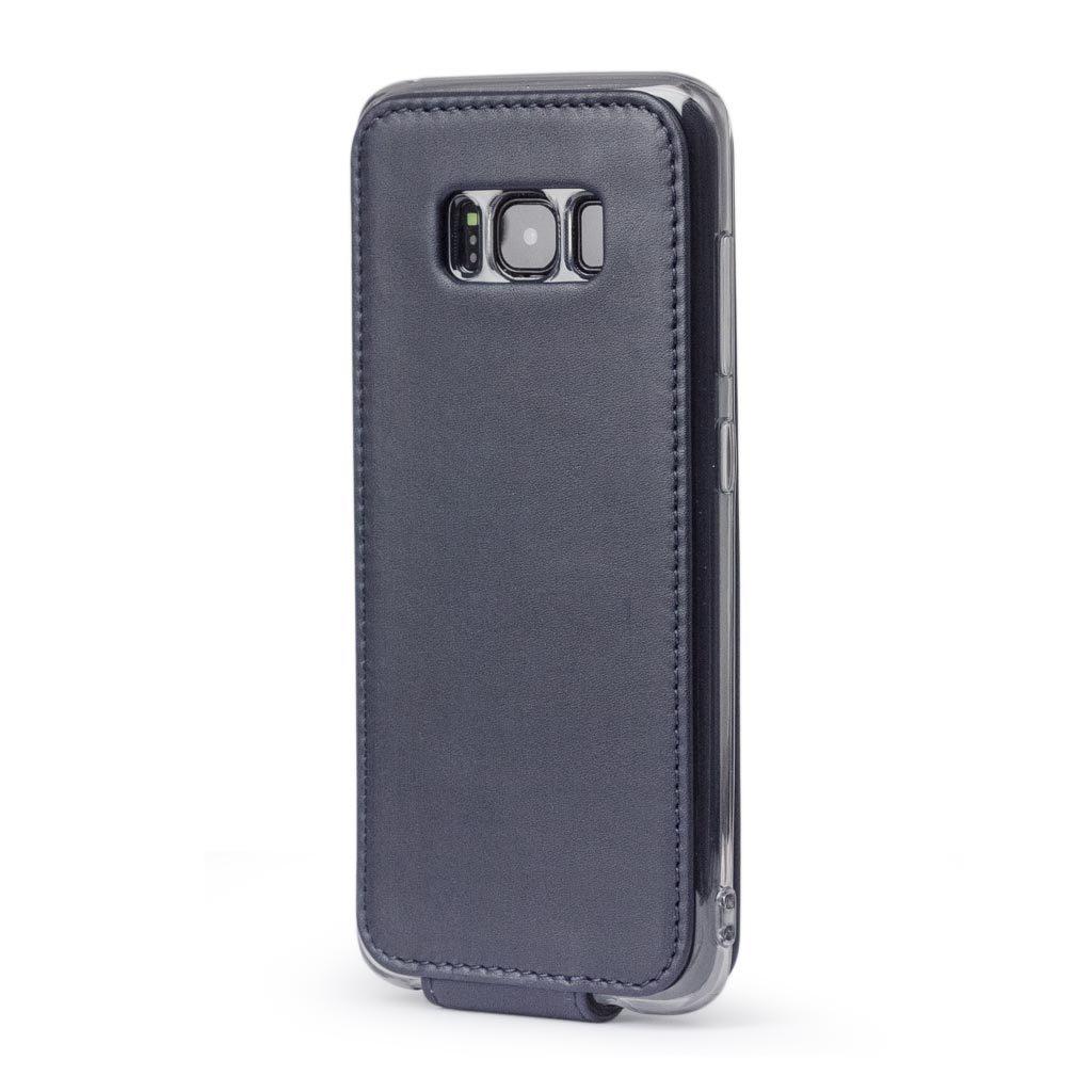 Чехол для Samsung Galaxy S8 из натуральной кожи теленка, темно-синего цвета