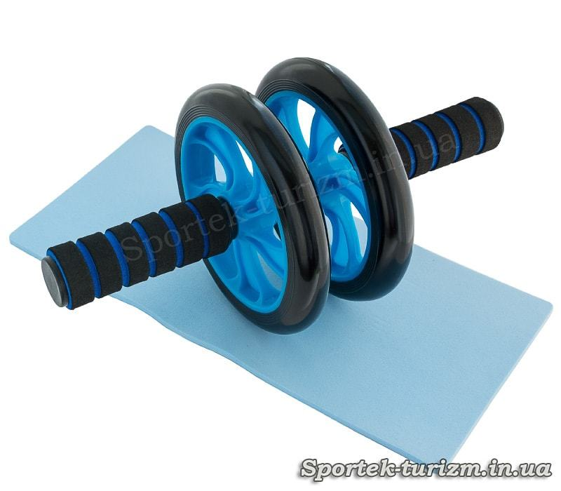 Ролик для преса з двома пластиковими колесами 14,5 см (синій)