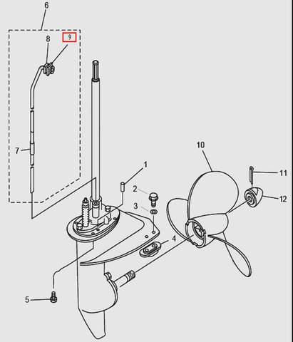Сальник трубки водяной для лодочного мотора T9.8 Sea-PRO (14-9)