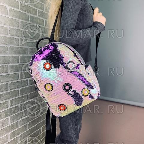 Рюкзак школьный в пайетках Перламутровый-Фиолетовый