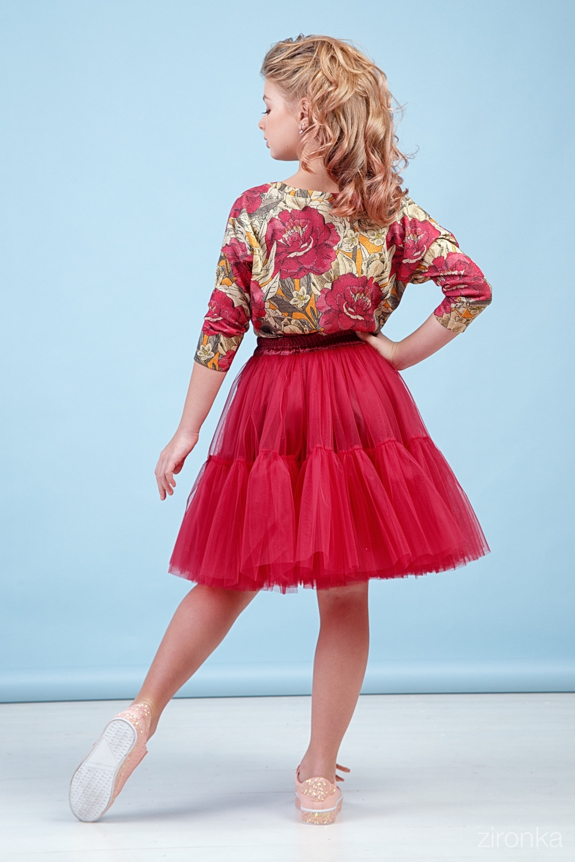 Комплект (блузка, юбка) красный для девочки 64-9002-4