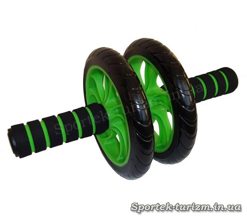 Ролик для преса з двома пластиковими колесами 14,5 см (зелений)