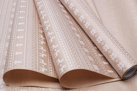 Бумага крафт 40г/м2, 70 см x 10 м, Орнаменты, цвет: белый