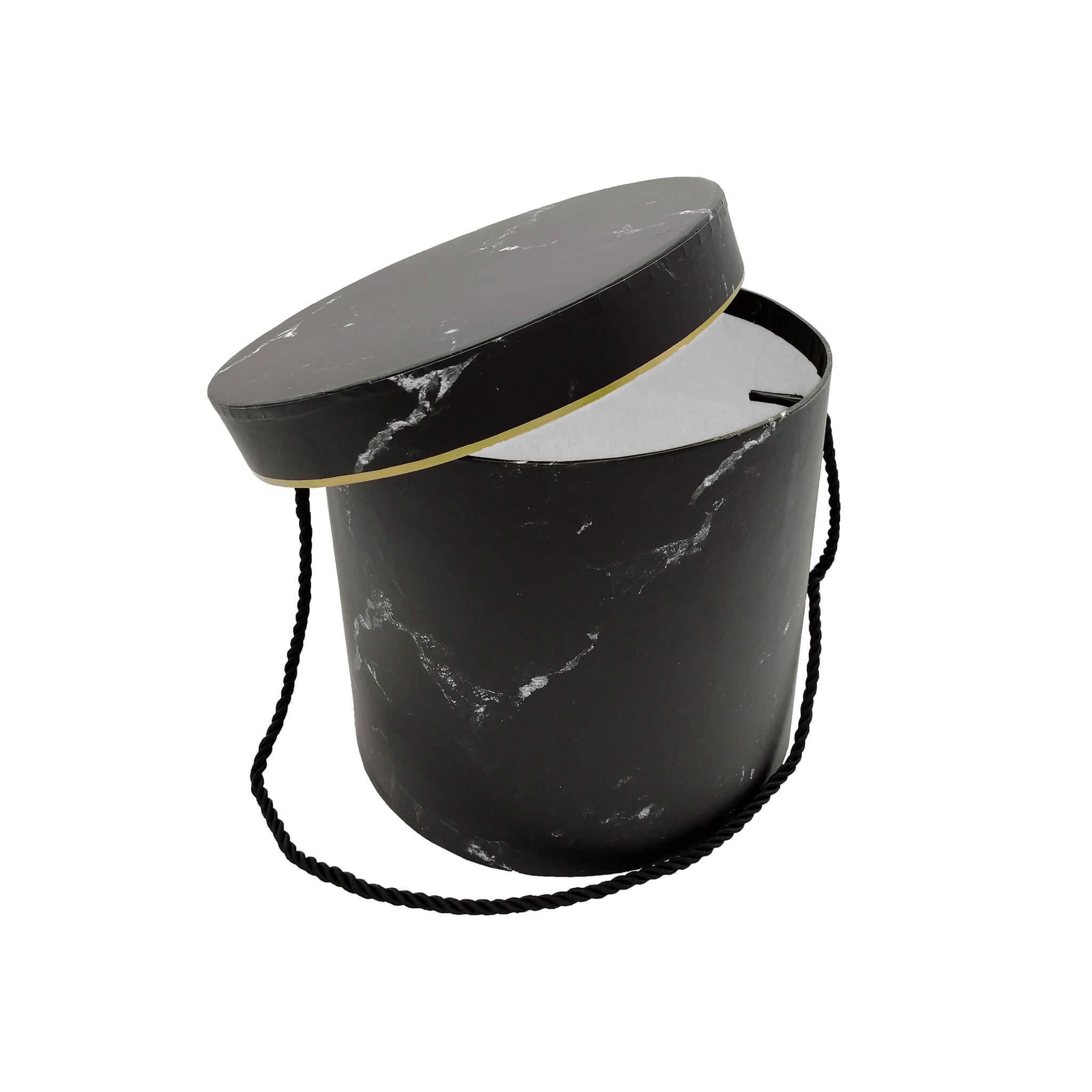 Подарочная коробка ЦИЛИНДР черный мрамор D14/H13