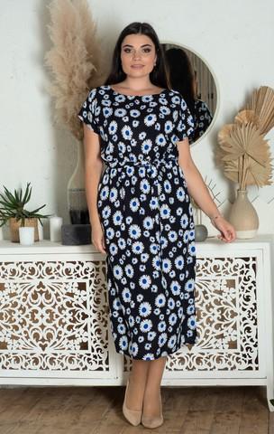 Алла. Платье миди больших размеров. Ромашки