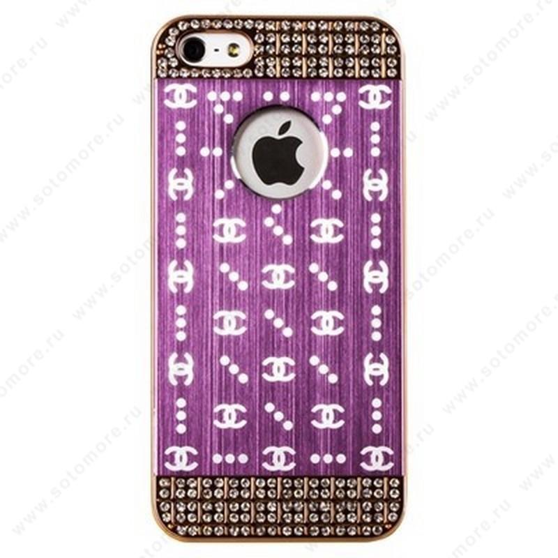 Накладка CHANEL металлическая для iPhone SE/ 5s/ 5C/ 5 золото розовая