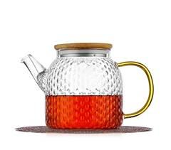 """Чайник заварочный """"Меркурий"""" 800 мл, стеклянный из рельефного стекла с бамбуковой крышкой Glaffe"""