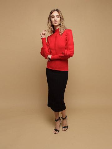 Женский джемпер красного цвета из 100% шерсти - фото 4