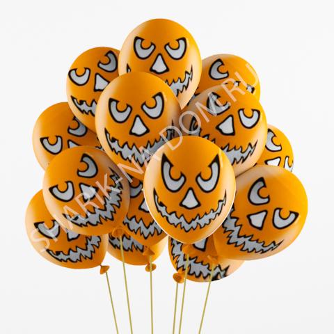 """Воздушные шары на Хэллоуин Облако оранжевых шариков """"Зловещая тыква"""" Шары_Зловещая_тыква.jpg"""