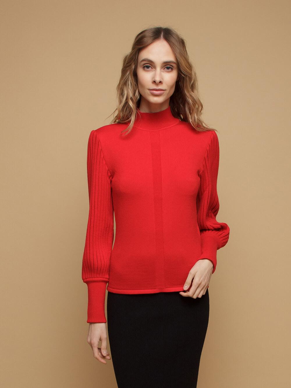 Женский джемпер красного цвета из 100% шерсти - фото 1