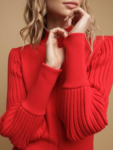 Женский джемпер красного цвета из 100% шерсти - фото 2