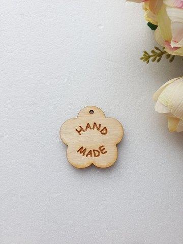 Бирка Цветок Hand made  30 мм, дерево