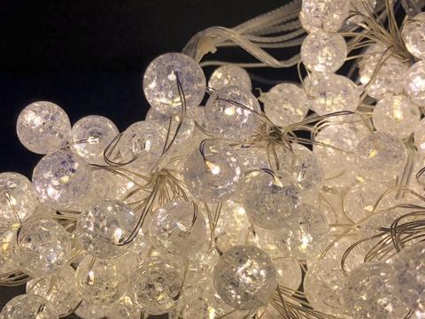 Штора-гірлянда на Мідному дроті Скло камінь 200 LED 2 на 2 м. тепло-біла