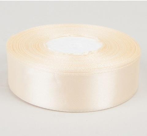 Лента атласная (размер 25 мм х 30 м) Цвет: кремовая