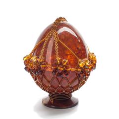 Сувенирное Пасхальное яйцо (натуральный янтарь, бисер), АВ-0768