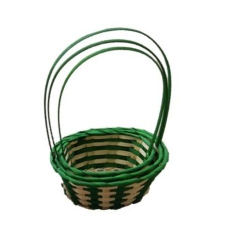 Набор корзин плетеных 3шт., (бамбук), 25,5х10x11xH37, натуральный/зеленый